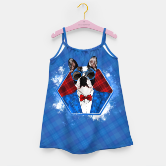 Thumbnail image of Hipster French Bulldog -Frenchie  Girl's dress, Live Heroes