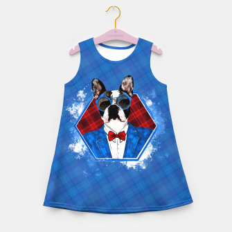 Thumbnail image of Hipster French Bulldog -Frenchie  Girl's summer dress, Live Heroes