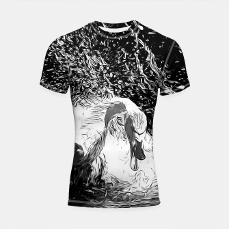 Miniatur gxp swan in action vector art black white Shortsleeve rashguard, Live Heroes