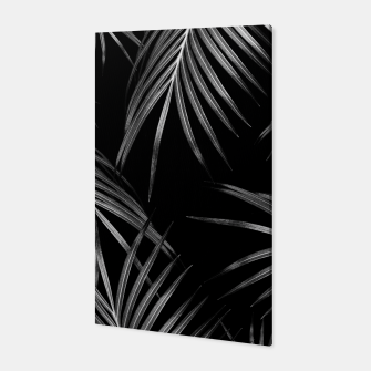 Thumbnail image of Silver Gray Black Palm Leaves Dream #1 #tropical #decor #art Canvas, Live Heroes