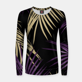 Thumbnail image of Purple Gold Palm Leaves Dream #1 #tropical #decor #art Frauen baumwoll sweatshirt, Live Heroes