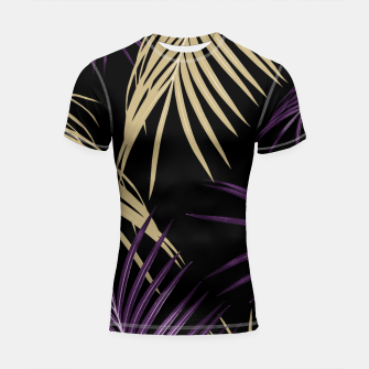 Miniatur Purple Gold Palm Leaves Dream #1 #tropical #decor #art Shortsleeve rashguard, Live Heroes