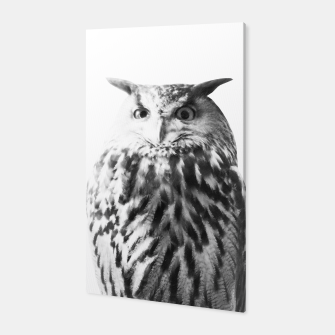 Thumbnail image of Owl on White #1 #animal #decor #art Canvas, Live Heroes