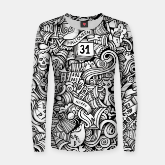 Thumbnail image of halloween doodle Woman cotton sweater, Live Heroes