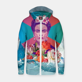 Thumbnail image of Cool Frida Kahlo Cotton zip up hoodie, Live Heroes