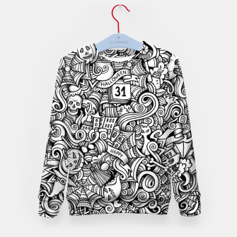 Thumbnail image of halloween doodle Kid's sweater, Live Heroes