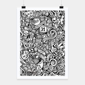 Thumbnail image of halloween doodle Poster, Live Heroes