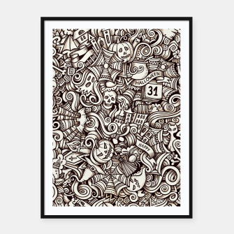 Thumbnail image of Halloween doodle Framed poster, Live Heroes