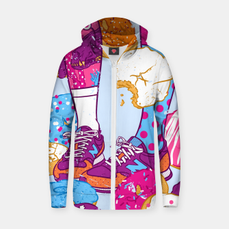 Thumbnail image of Don't step over donuts Cotton zip up hoodie, Live Heroes