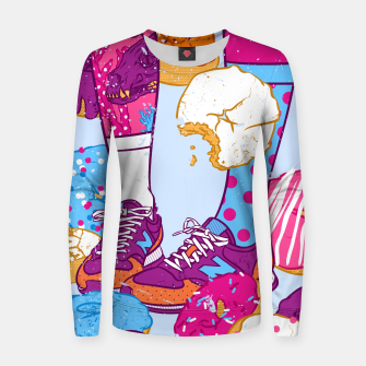 Thumbnail image of Don't step over donuts Woman cotton sweater, Live Heroes