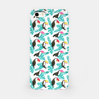 Watercolor toucan and leaves iPhone Case thumbnail image