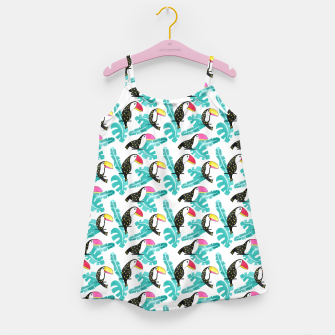 Watercolor toucan and leaves Girl's dress thumbnail image
