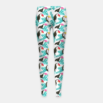 Thumbnail image of Watercolor toucan and leaves Girl's leggings, Live Heroes