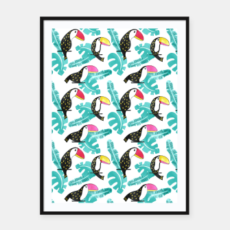 Watercolor toucan and leaves Framed poster thumbnail image