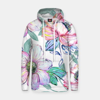 Thumbnail image of Romantic watercolor flowers hand paint design Cotton hoodie, Live Heroes