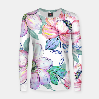 Thumbnail image of Romantic watercolor flowers hand paint design Woman cotton sweater, Live Heroes