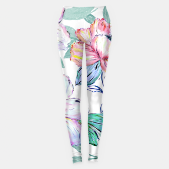 Thumbnail image of Romantic watercolor flowers hand paint design Leggings, Live Heroes