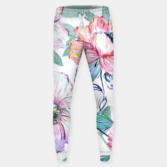 Thumbnail image of Romantic watercolor flowers hand paint design Cotton sweatpants, Live Heroes
