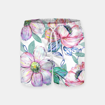 Thumbnail image of Romantic watercolor flowers hand paint design Swim Shorts, Live Heroes