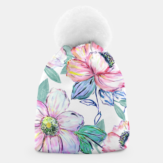 Thumbnail image of Romantic watercolor flowers hand paint design Beanie, Live Heroes