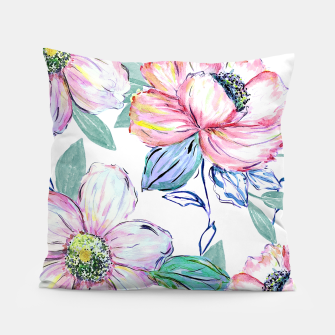 Thumbnail image of Romantic watercolor flowers hand paint design Pillow, Live Heroes