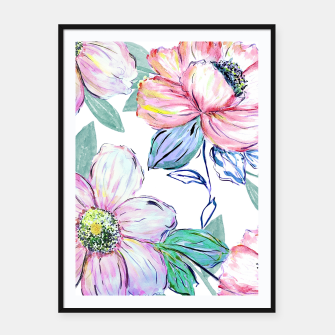 Thumbnail image of Romantic watercolor flowers hand paint design Framed poster, Live Heroes