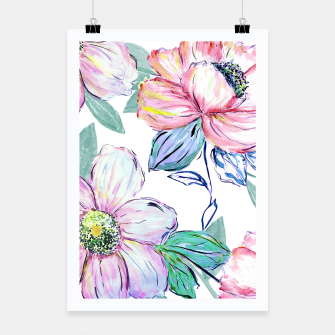 Thumbnail image of Romantic watercolor flowers hand paint design Poster, Live Heroes