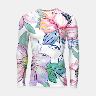Thumbnail image of Romantic watercolor flowers hand paint design Longsleeve rashguard , Live Heroes