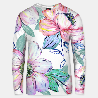 Thumbnail image of Romantic watercolor flowers hand paint design Cotton sweater, Live Heroes