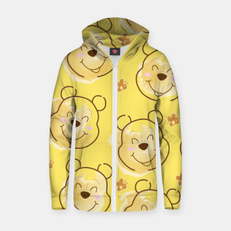 Miniaturka Inspired Pooh bear on yellow background pattern Cotton zip up hoodie, Live Heroes