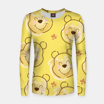 Miniaturka Inspired Pooh bear on yellow background pattern Woman cotton sweater, Live Heroes