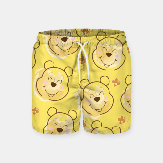 Miniature de image de Inspired Pooh bear on yellow background pattern Swim Shorts, Live Heroes
