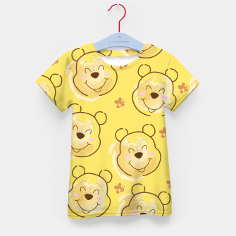 Miniatur Inspired Pooh bear on yellow background pattern Kid's t-shirt, Live Heroes