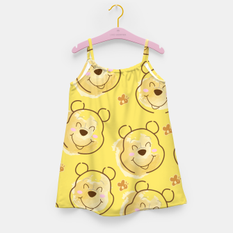 Miniaturka Inspired Pooh bear on yellow background pattern Girl's dress, Live Heroes