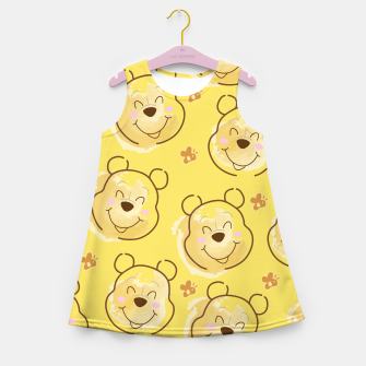 Miniaturka Inspired Pooh bear on yellow background pattern Girl's summer dress, Live Heroes