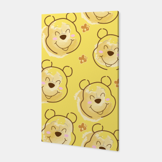 Miniaturka Inspired Pooh bear on yellow background pattern Canvas, Live Heroes