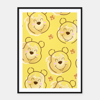 Miniaturka Inspired Pooh bear on yellow background pattern Framed poster, Live Heroes