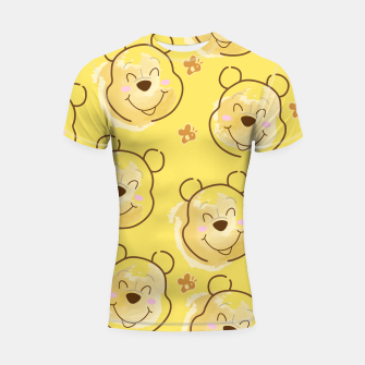Miniaturka Inspired Pooh bear on yellow background pattern Shortsleeve rashguard, Live Heroes