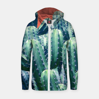 Thumbnail image of Cactus on Coral Cotton zip up hoodie, Live Heroes