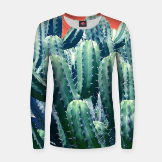 Thumbnail image of Cactus on Coral Woman cotton sweater, Live Heroes