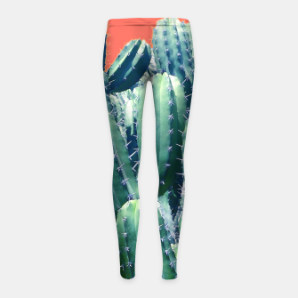 Thumbnail image of Cactus on Coral Girl's leggings, Live Heroes