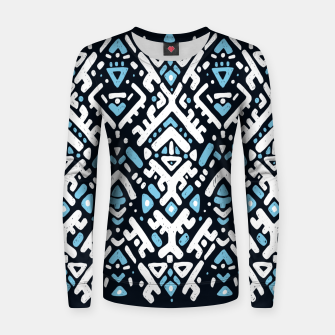 Thumbnail image of Ikat ornament. Tribal pattern in Aztec style. Hand Drawn folklore pattern Woman cotton sweater, Live Heroes