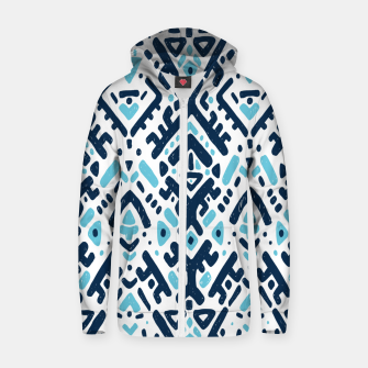 Thumbnail image of Aztec ornament Cotton zip up hoodie, Live Heroes