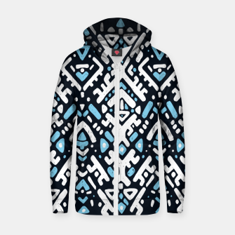 Thumbnail image of Ikat ornament. Tribal pattern in Aztec style. Hand Drawn folklore pattern Cotton zip up hoodie, Live Heroes