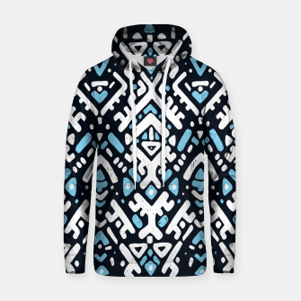 Thumbnail image of Ikat ornament. Tribal pattern in Aztec style. Hand Drawn folklore pattern Cotton hoodie, Live Heroes