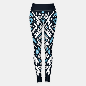 Thumbnail image of Ikat ornament. Tribal pattern in Aztec style. Hand Drawn folklore pattern Leggings, Live Heroes