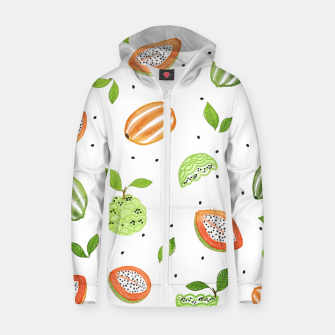 Miniaturka Papaya & Custard Apple Cotton zip up hoodie, Live Heroes