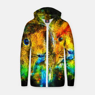 Miniaturka gxp guinea pig couple splatter watercolor Cotton zip up hoodie, Live Heroes