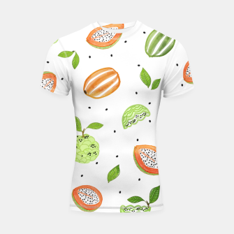 Thumbnail image of Papaya & Custard Apple Shortsleeve rashguard, Live Heroes