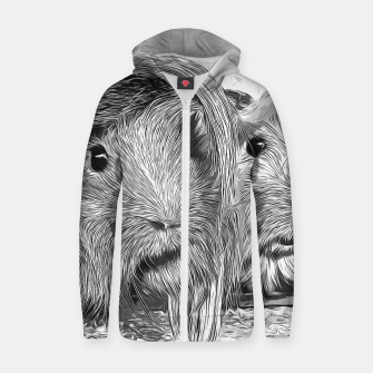 Miniaturka gxp guinea pig couple vector art black white Cotton zip up hoodie, Live Heroes